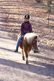Girl riding a pony. Young girl riding a pony/horse in the forest in Denmark Royalty Free Stock Image
