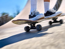 Girl riding on roller skates Royalty Free Stock Images