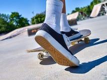 Girl riding on roller skates . Royalty Free Stock Photos