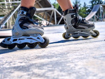 Girl riding on roller skates Royalty Free Stock Photo