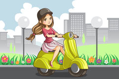 Girl riding scooter Royalty Free Stock Photo