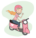 Girl riding scooter Stock Photo