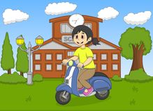 The girl riding a scooter in front of her school cartoon Royalty Free Stock Photos