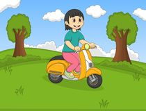 The girl riding a scooter in the park cartoon Stock Photography