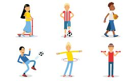 Athletic People Doing Different Kinds Of Sport Vector Illustration Set Isolated On White Background.