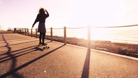 Girl riding a skateboard