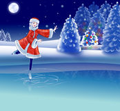 Girl is riding on skating rink. The Fir tree decorated of varicoloured balls is found in the winter forest. The Girl in fur suit ride on skating rink on Royalty Free Stock Image