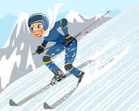 Girl riding by ski. Vector illustration of a girl riding by ski Stock Images