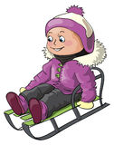 Girl riding on a sledge. Winter illustration for children outdoor activity - a small girl riding on a sledge Royalty Free Stock Photography