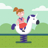 Girl riding a spring horse ride at park playground. Smiling kid character. Modern flat vector illustration clipart Stock Photography
