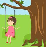 The girl is riding on a swing. Examples to illustrate the children`s book. vector illustration Stock Photography