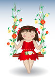 The girl is riding on swing with flowers Royalty Free Stock Images