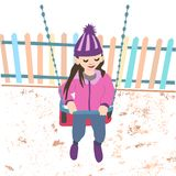 Girl riding on a swing. Spring girl walk and swing. colored vector illustration in purple tones on a white background Stock Photo