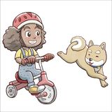 Girl riding a tricycle bike and followed by shiba dog - white background vector illustration