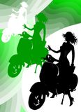 Girl Riding Vespa. A silhouette of a nice girl riding Vespa Stock Photos
