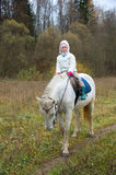 Girl riding on a white horse Stock Photography