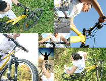 Girl riding a yellow bike. Collage girl riding a yellow bike in the park Stock Photo