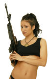 Girl with rifle. Asian girl with rifle on the white background stock photos