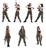 The girl with rifle AK. On a white background Royalty Free Stock Photo