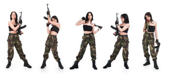 The girl with rifle AK. On a white background Stock Images