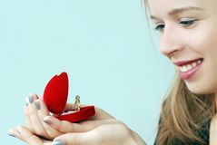 Girl with ring Stock Photos