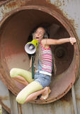 girl ring singing Στοκ Φωτογραφίες