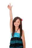 Girl rising her hand Royalty Free Stock Images