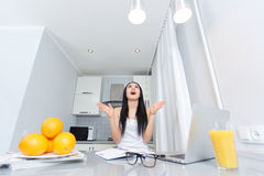 Girl rising up and happy shouting. stock photo