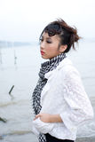 Girl by the river. A chinese girl by the river Stock Image