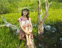 Girl  in river Royalty Free Stock Photo