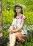 Girl  in river Stock Photo