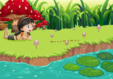 A girl at the riverbank near the red mushrooms royalty free illustration