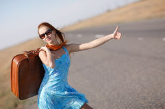 Girl on the road Stock Photography