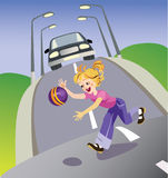 Girl in road. Vector illustration representing the girl with a ball run out on road. For training of children to behaviour rules in the street Stock Photo