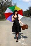 Girl at road Royalty Free Stock Image