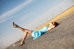 Girl on the road Stock Image