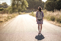 The girl on the road Stock Photo
