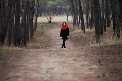 The girl and the road. The path leading somewhere ahead Stock Image