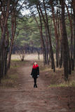The girl and the road. The path leading somewhere ahead Royalty Free Stock Photo