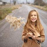 Girl on road Royalty Free Stock Images