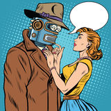 Girl and robot artificial intelligence fiction. Pop art retro style. Unusual pair of lovers. Valentine day Stock Photo