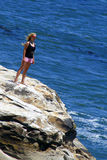 Girl on the Rock Royalty Free Stock Images