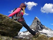 Girl on rock Stock Photo