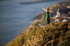 Girl on the rock Royalty Free Stock Image