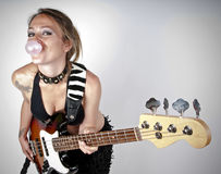Girl on rock guitar Royalty Free Stock Images