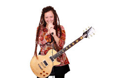 Girl rock and roll singer Stock Images
