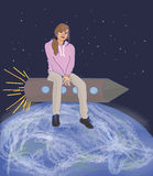 The girl on the rocket Stock Photography