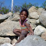 Girl on Rocks Stock Photography