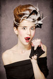 Girl with Rococo hair style and cake g Stock Photos