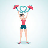 Girl with a rod. Young girl lifting a barbell in the shape of a heart. Cartoon vector illustration. Character design stock illustration